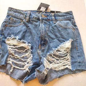 Fashion Nova Blue Denim Jeans Shorts Size Small